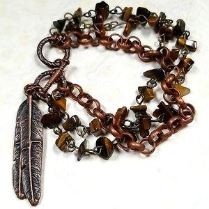 Boho Tiger Eye & Copper Feather Beaded Bracelet